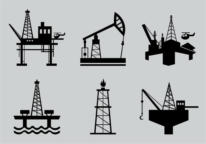Oil field silhouette vector pack