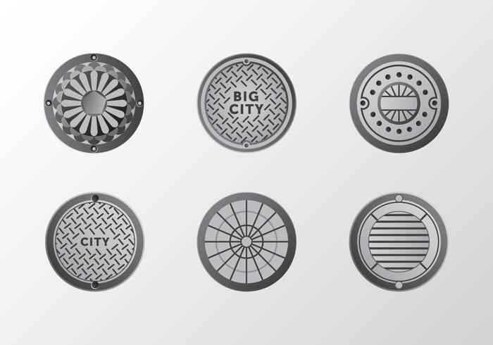 Metal gradient Manhole ornament vector pack