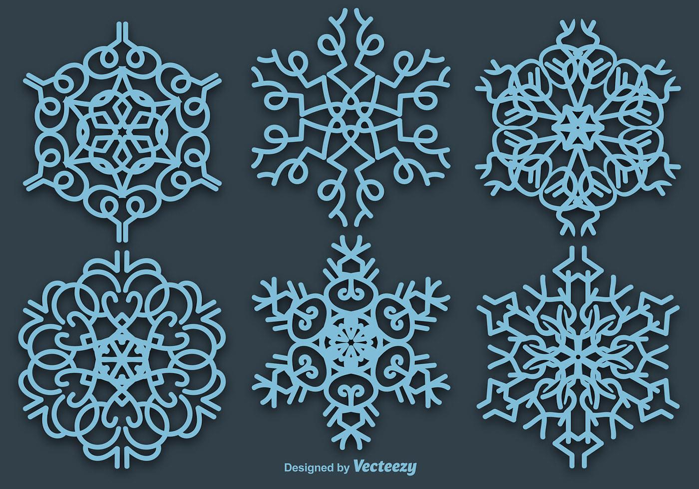 Vector Copo De Nieve: Conjunto De 6 Copos De Nieve De Vector Azul