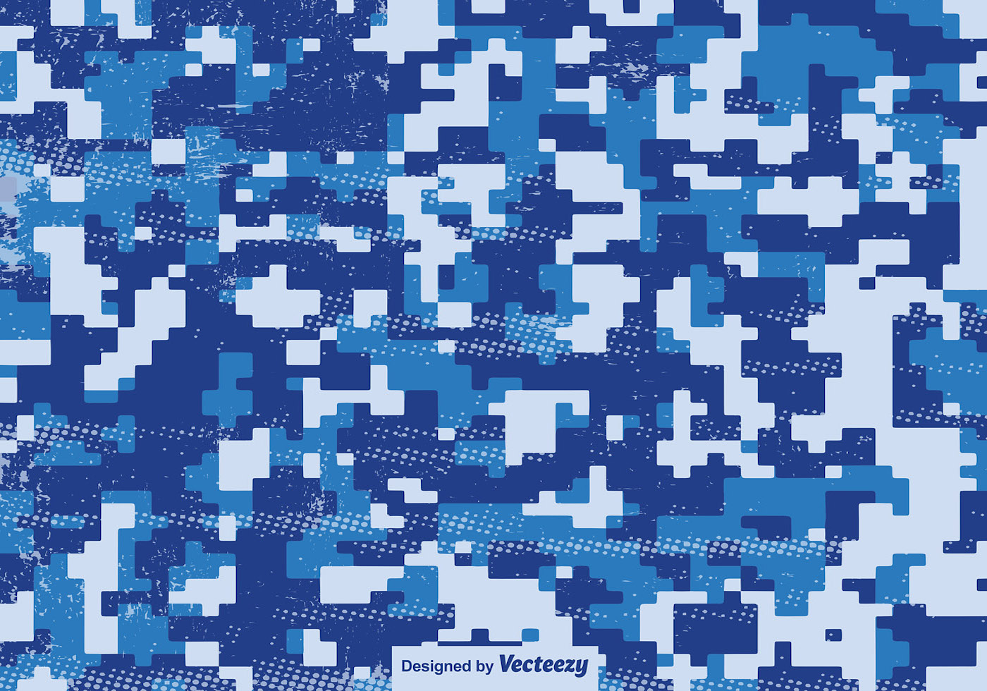 Multicam Pixelated Pattern Blue Vector Camouflage