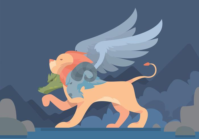 Winged Lion Vector Design