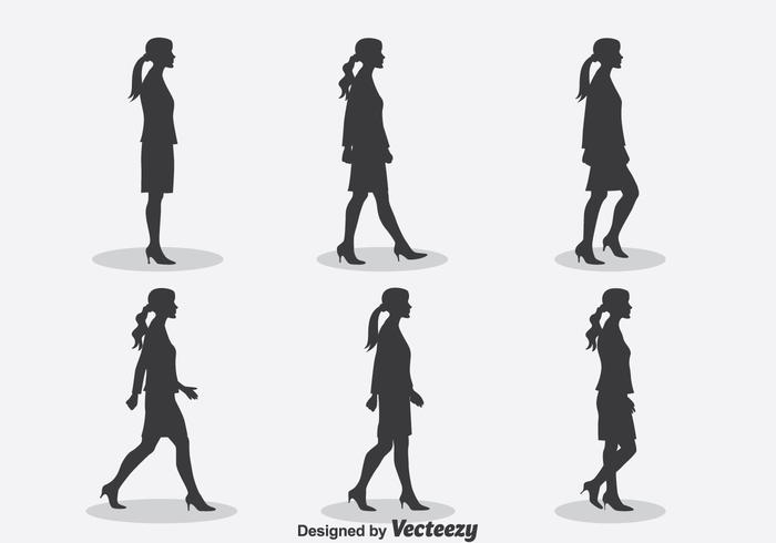 Vrouw Silhouet Walk Cycle Vector