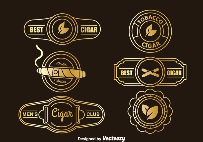 Guld cigarett etikett insamlingsvektor