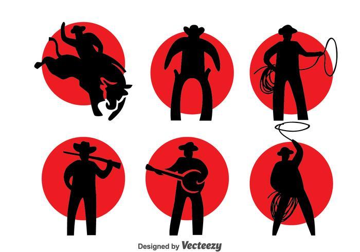 Cowboy siluett vektor uppsättning