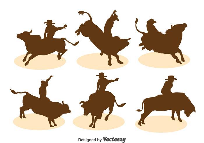 Ensemble de vecteur silhouette Bull Rider