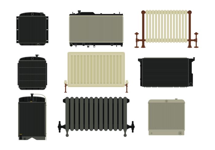 Iconos del vector del radiador