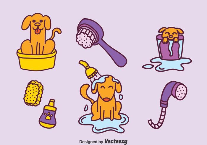 Jogo desenhado mão do vetor da lavagem do cão