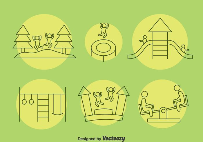 Playground Kids Icons Vector