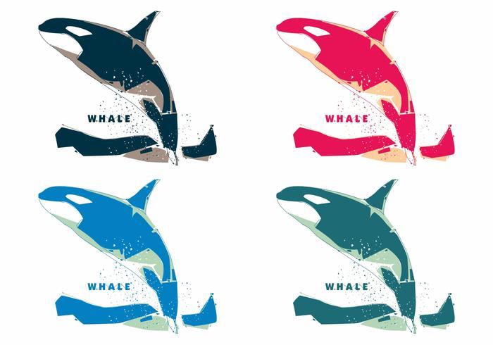 Popart coloré vecteurs de baleines