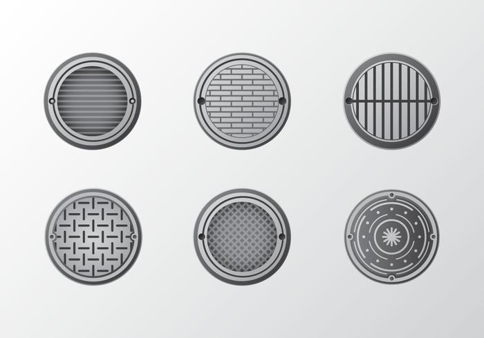 Metal manhole pattern vector pack