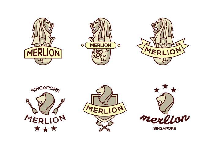 Merlion león logotipo paquete de vectores