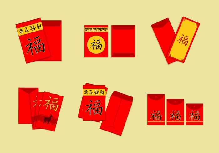 Chinese envelope red packet vector pack
