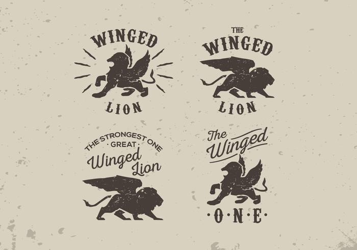 Winged lion old vintage label style lettering vector pack