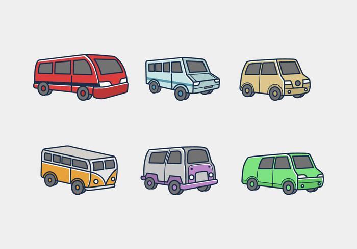 Minibus de color icono paquete de vectores