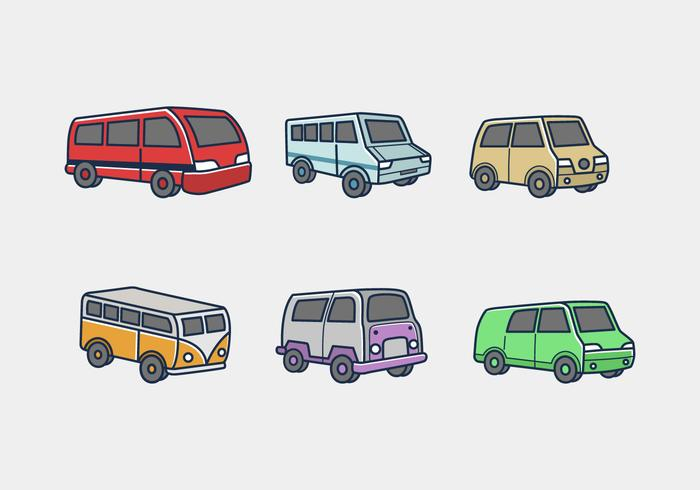 Minibus colored icon vector pack