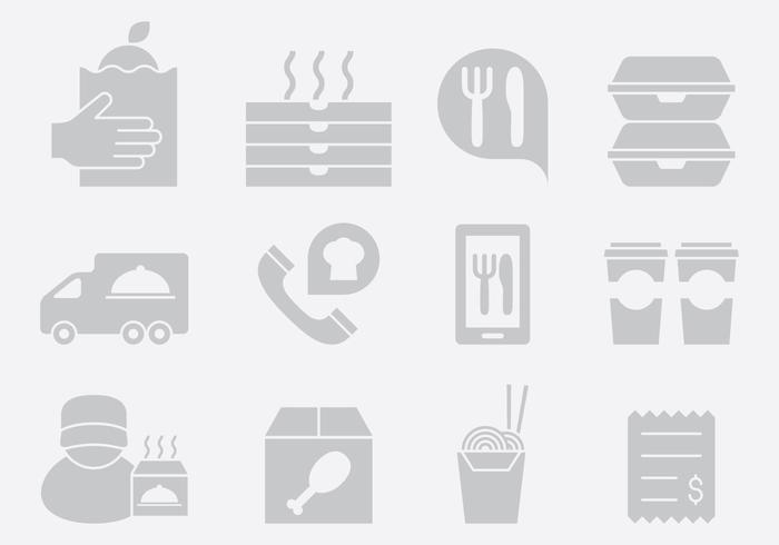 Iconos de entrega de alimentos grises