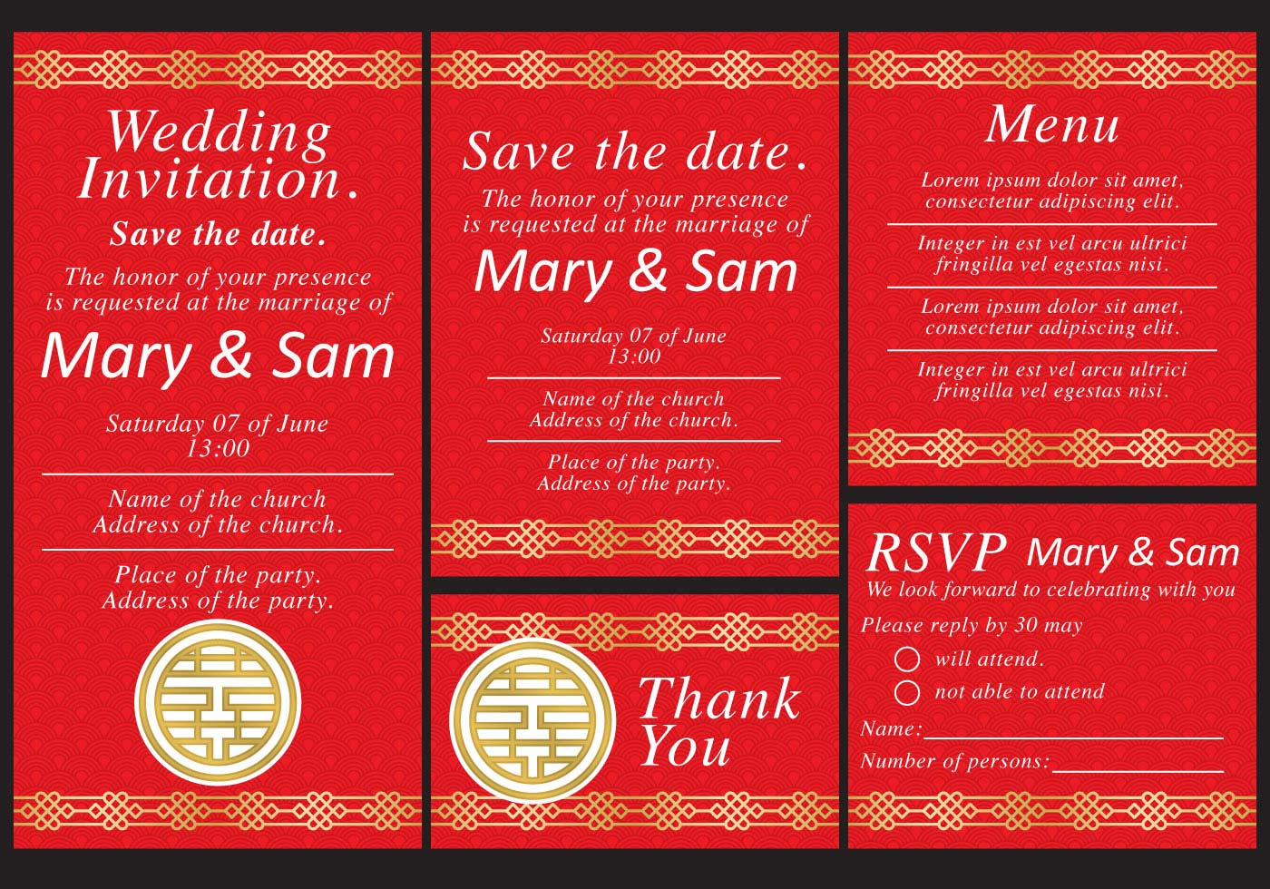 Chinese Wedding Templates - Download Free Vector Art, Stock Graphics ...