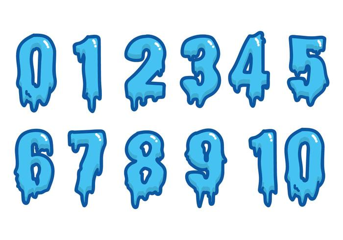 Water Font Vector Numbers