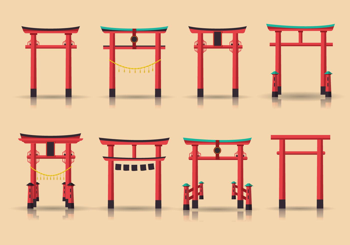 Torii Vector Structures - Download Free Vectors, Clipart ...