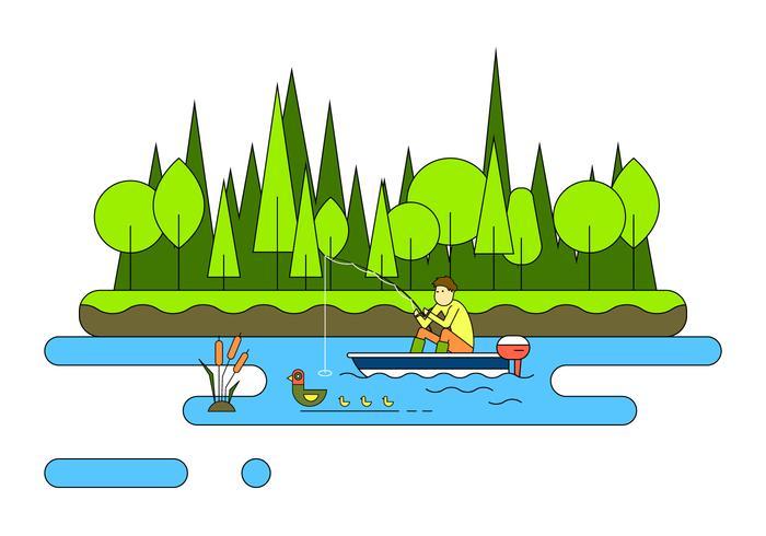 Lake Fishing Vector Illustration