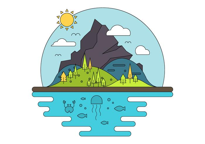 Flat Island Illustration