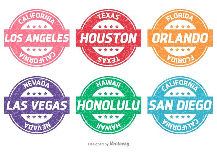 Cities and States Vector Stamps