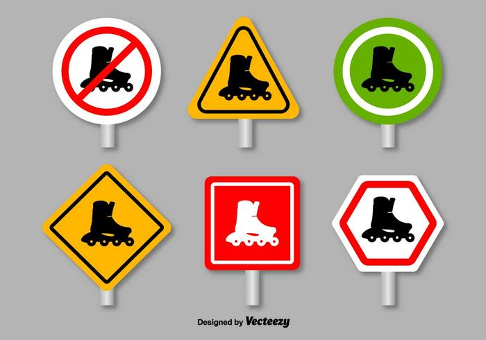Roller Skates Prohibition Signs - Vector