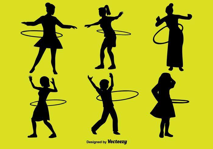 People With Hula Hoop Icon Set