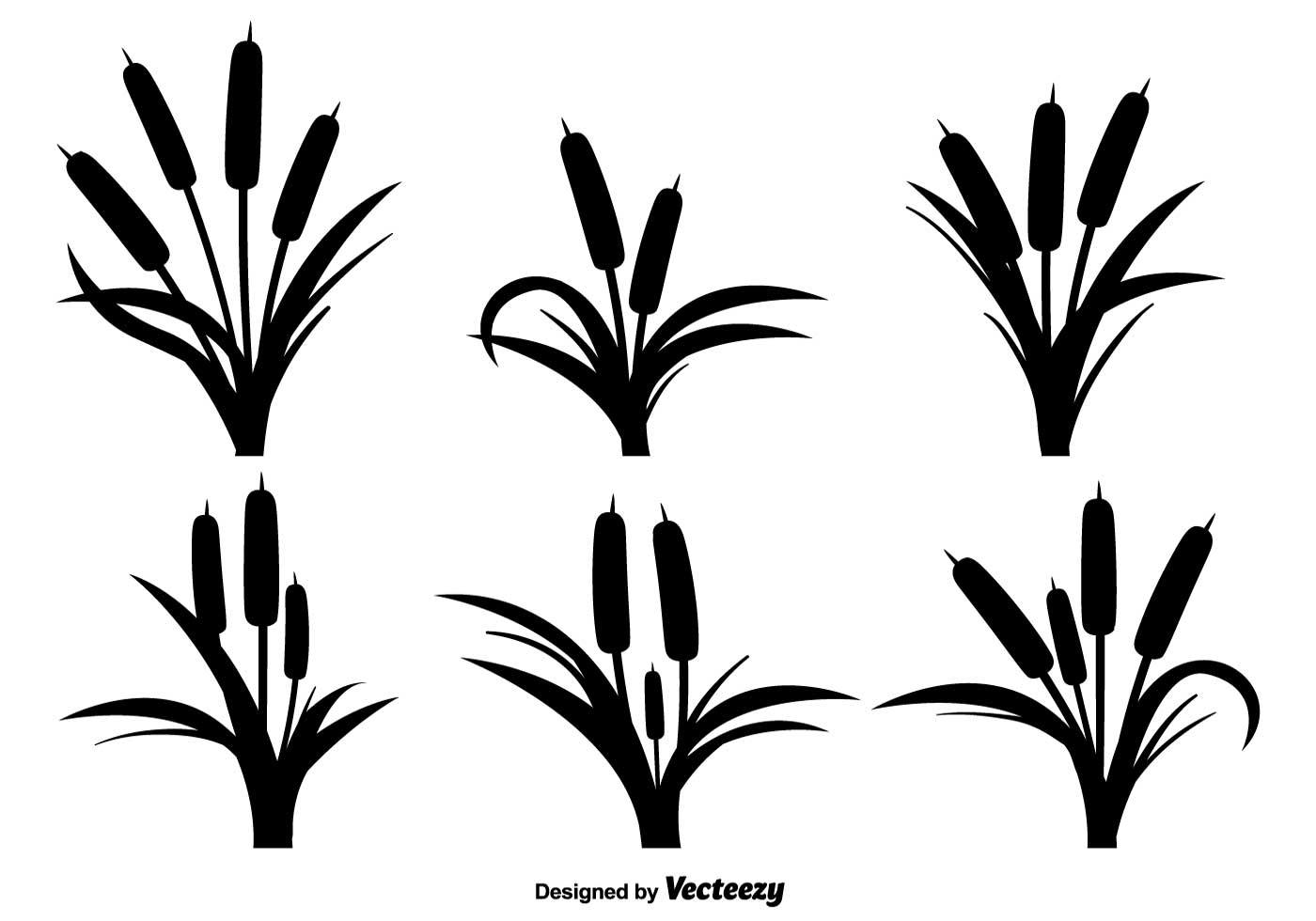 reeds black icons vector set