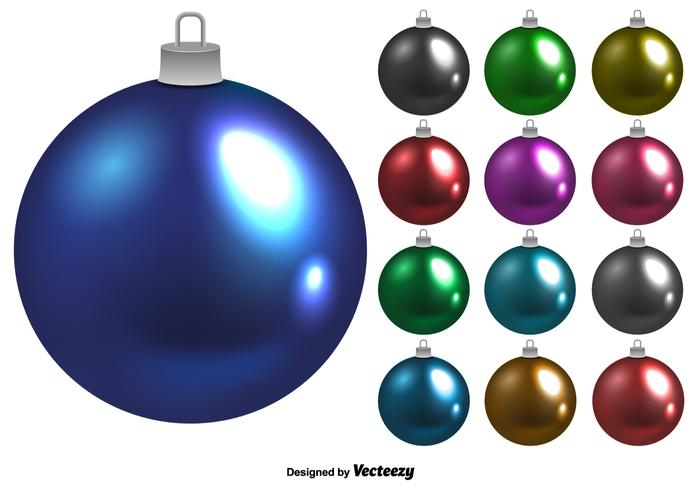 Shiny Vector Christmas Balls Set