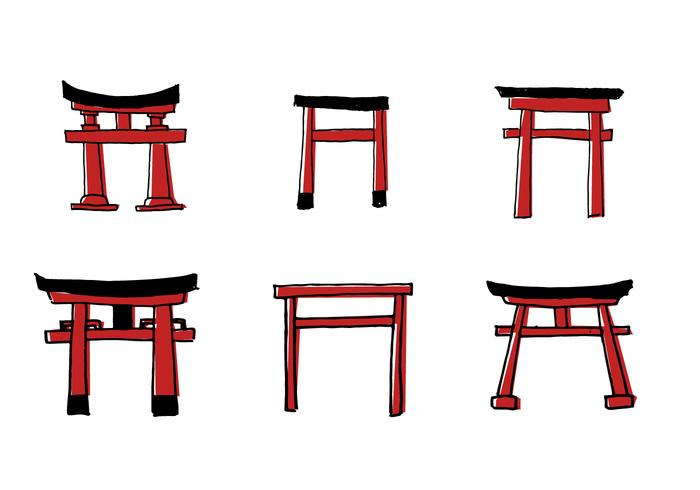 Scribble Torii Vector Set
