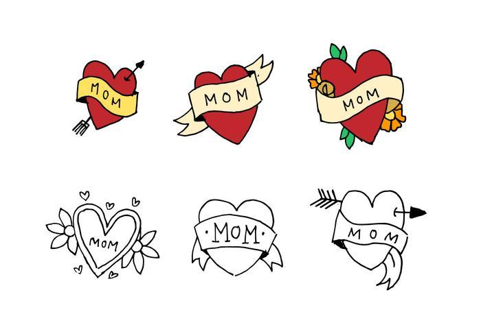 Conjunto de Doodle Tatuaje Mamá