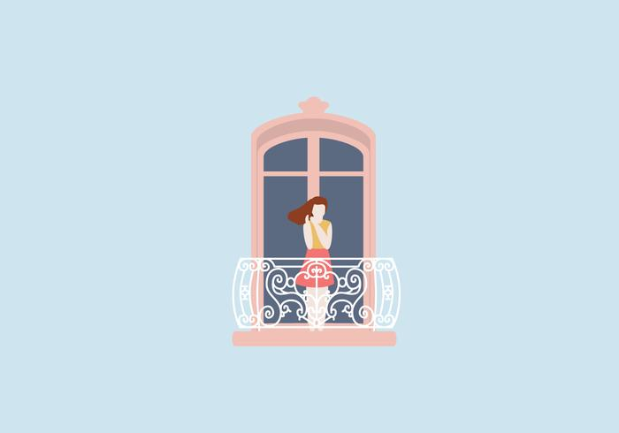 Woman At Balcony Illustration