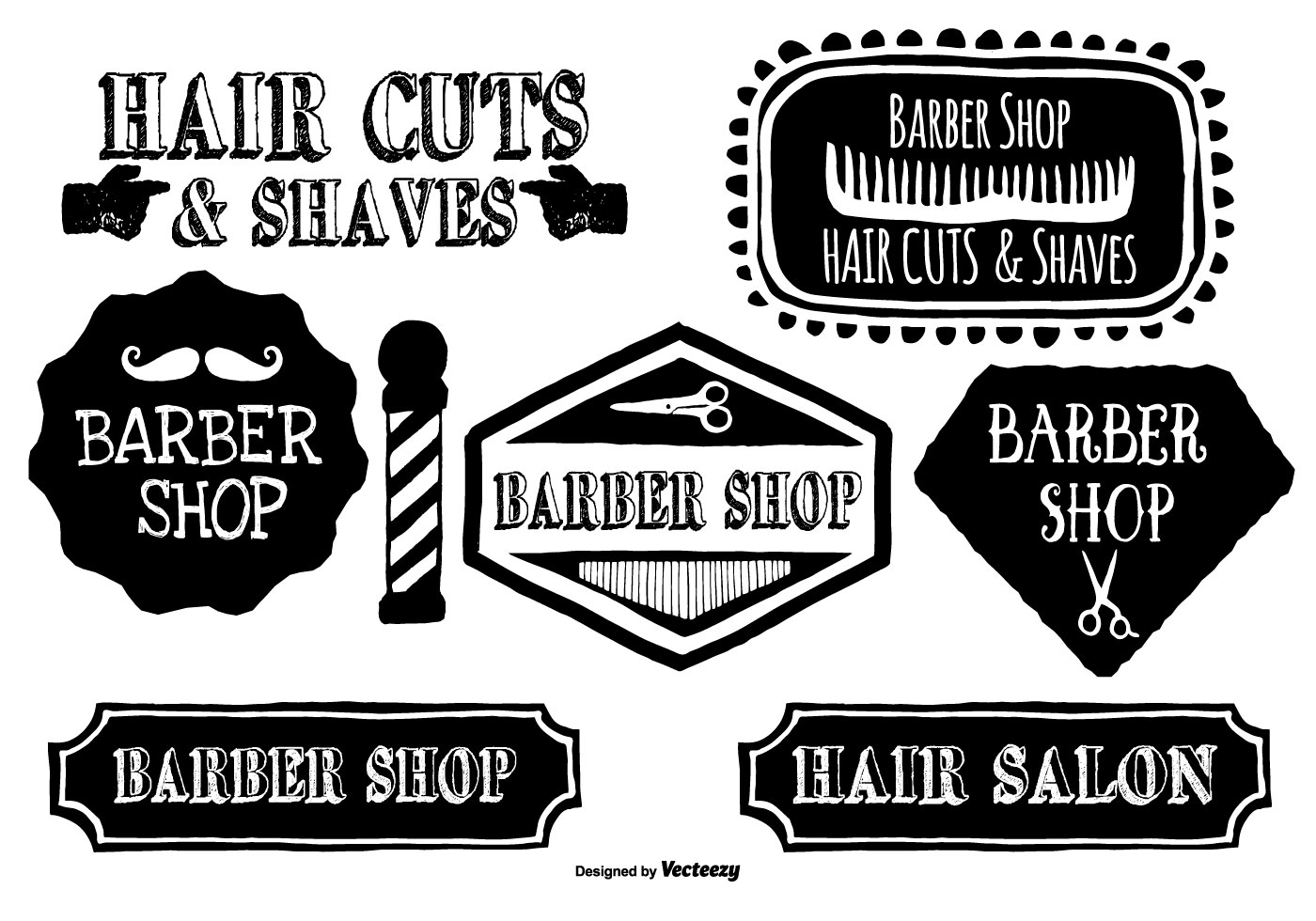 Cute Hand Drawn Barber Shop Labels - Download Free Vector ...