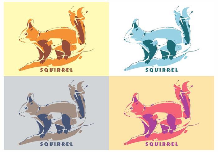 Cute Colorful Squirrel Vector