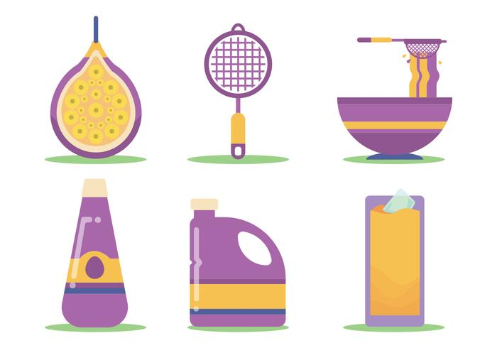 Passion Fruit Juice Making Vector Set