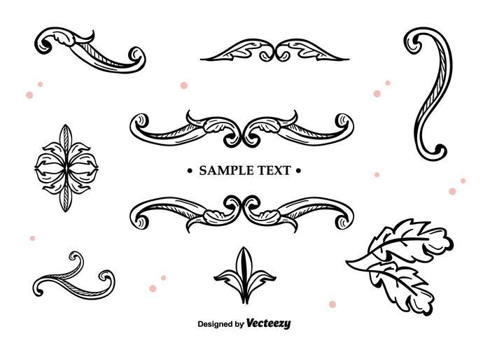 Ornamentos desenhados à mão do vetor
