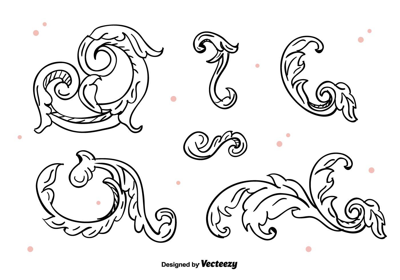 Line Art Flower Vector Free Download : Floral ornaments vector download free art stock