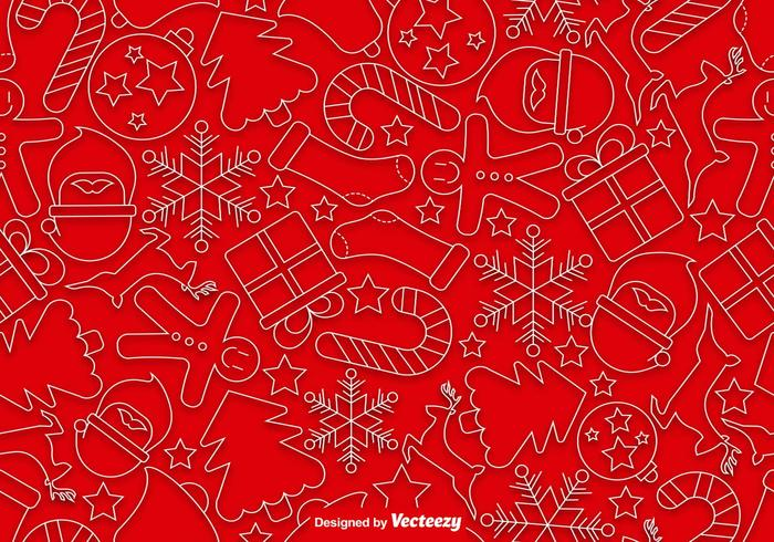 Christmas Line Style Icons Seamless Pattern