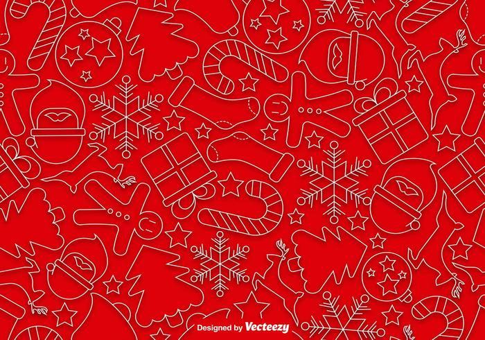 Icônes de style ligne de Noël Pattern sans couture