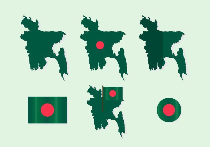 Bangladesh Map with Flag Vector Set