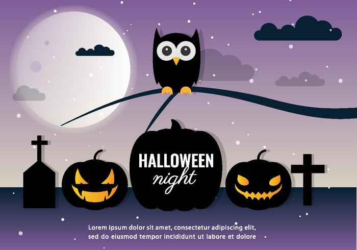 Halloween Night Vector Owl