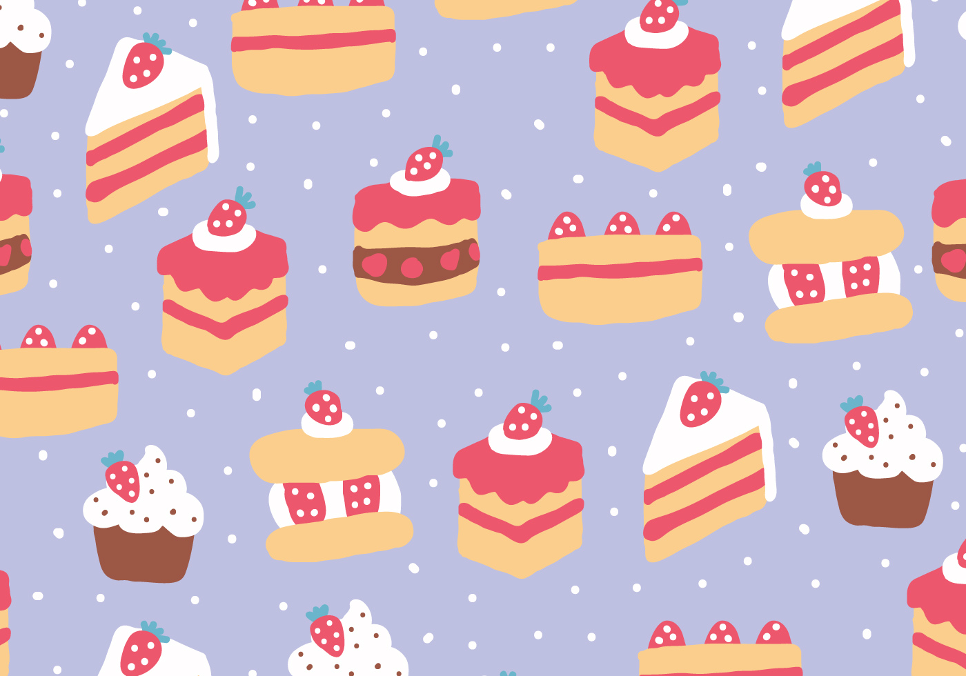 Strawberry Cakes Pattern Download Free Vector Art Stock
