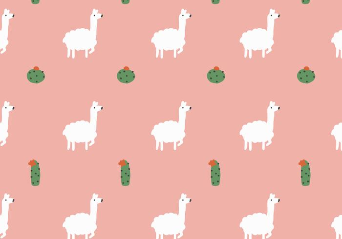 Llama and Cactus Pattern