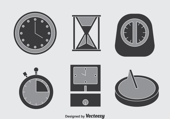 Horloge icônes gris vecteur