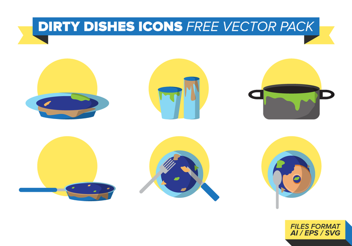 Dirty Dishes Icons Vector Pack