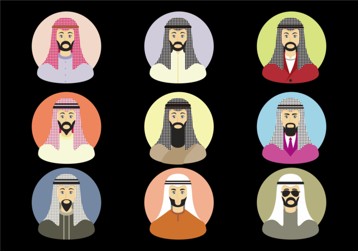 Arabic Men With Keffiyeh Vector