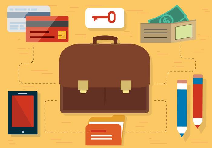 Free Flat Design Vector Travel Accessories