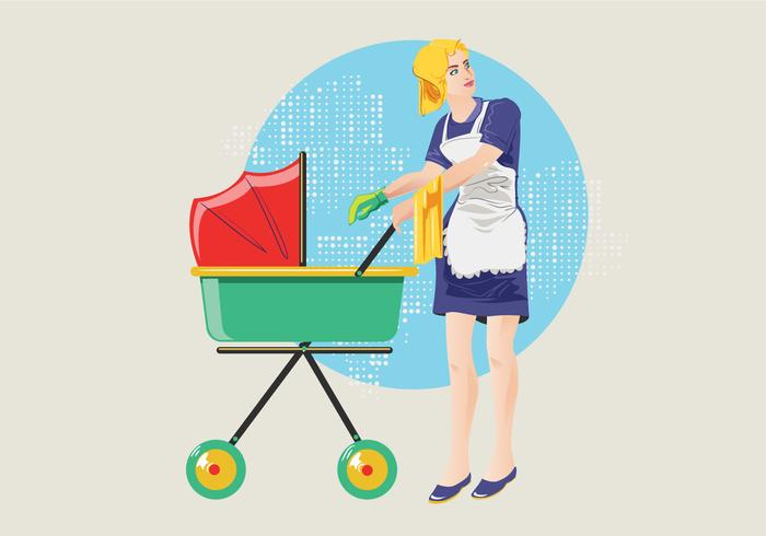 Babysitter or Cleaning Mom Vector