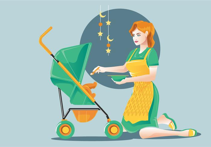 Vecteur de baby-sitter ou de maman et d'enfant